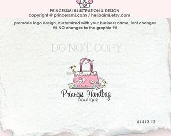1412-12  hand bag logo, Premade logo design, business card, BAG logo, Pouch logo, hand bag, bag watermark, boutique logo