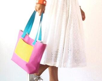 Pink tote bag, multicolor vegan tote, mini tote bag, small tote, pink leather bag, tote bag with pockets, tote bag personalized, summer bag