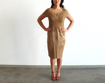 tan lace dress - 50s vintage mocha light brown floral cocktail sheer pinup mid century retro sheath wiggle fit bodycon short sleeves medium