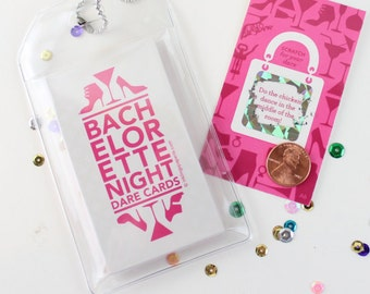Scratch-off Bachelorette Dare Game // Bridal Shower Game, Bachelorette Party Games // 12 Cards in a Luggage Tag