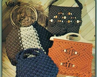 PURSE STRINGS Macrame Handbags Project Book Purse Patterns Liz Miller Rose Brinkley 1970s