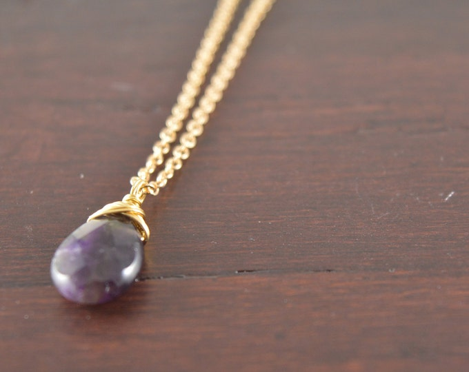 Chevron Amethyst Briolette Necklace, Amethyst Chevron Briolette Necklace, February Birthstone Necklace, Birthstone, Amethyst Jewelry
