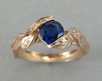 Rose Gold Leaf Engagement Ring, Rose Gold Leaves Sapphire Engagement Ring, Ring With Lab Blue Sapphire, Forest Ring, Floral Ring