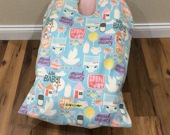 Infant Car Seat Blanket, car seat cover, baby carrier blanket, bundle of joy-special delivery, baby car seat cover, winter baby travel, baby
