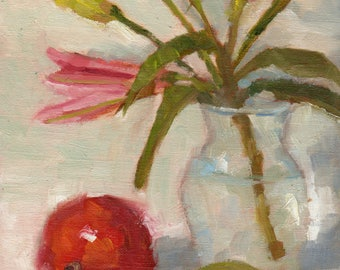 Small Oil Painting, Flower Painting, Still Life Painting, Fruit Art, Azalea Art, Mango Art by Marlene Lee