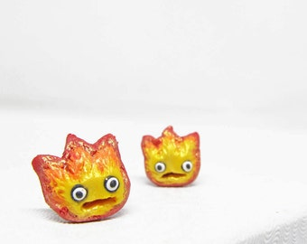 Calcifer earrings, Howl's moving castle, Studio Ghilbi, miyazaki earrings, kawaii earrings
