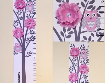 Personalized owl Growth Chart Children Baby Personalized  Canvas Growth Chart Modern Pink Grey Nursery Tree Flower