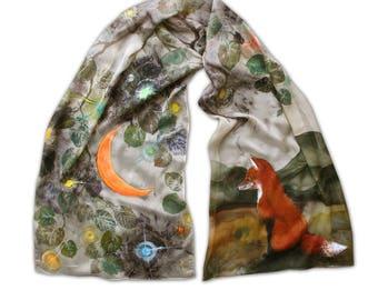 Fox and moon, painted khaki silk scarf, hand printed tree leaves, eco friendly, nature motives, cute animal, batik, earth colors, evening