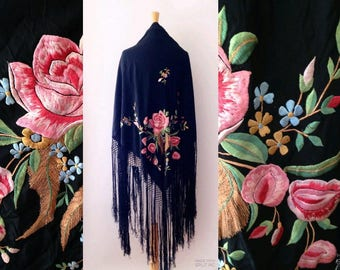 1920s large antique floral hand  embroidered silk piano shawl with extra long fringe