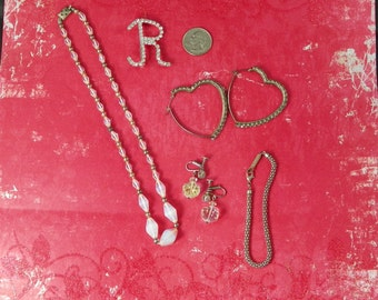 1950s Five Piece Heart Shaped Rhinestone Earrings Aurora Borealis R Brooch Silver Rope Bracelet Romance Romantic Jewelry Lot Mothers Day