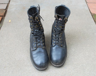 Vintage Mens 8.5 Carolina USA Rugged Black Leather Lace Up Motorcycle Work Combat Military Boots Boot Ankle