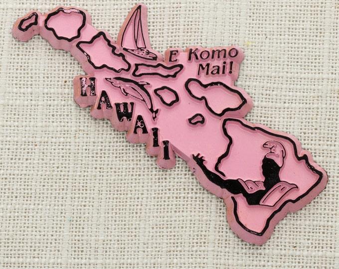 "Hawaii Vintage State Magnet | Pink Travel Souvenir Tourism Summer Vacation Memento | Aloha USA America Fridge | ""E Komo Mai!"" 5S"