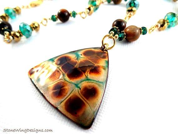 Artisan Enamel, Tiger's Eye and Green Quartz Necklace