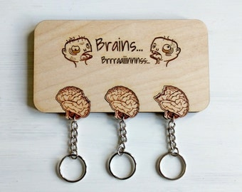Laser cut Zombies and brains wall key holder with keychains - Zombie key holder, wood brain keychains, zombies wall decor, zombie keychains