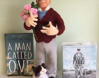 "ART DOLL ""A Man Called Ove"" Handmade Needle Felted/  Book and Movie Character"