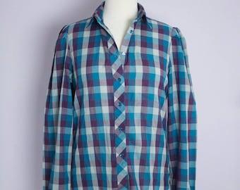 Vintage 1980's Teal + Purple Plaid Puff Sleeve Button Up Shirt Blouse M/L