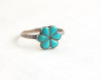 Turquoise Flower Ring Size 5 Vintage Sterling Silver Southwestern Midi Ring Girls Boho Jewelry