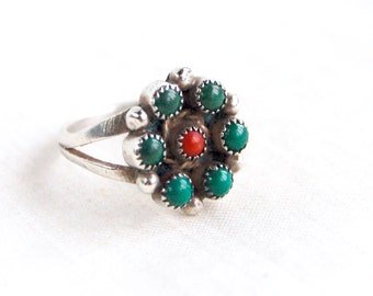 Green Turquoise Red Coral Flower Ring Size 7 Vintage Southwestern Boho Bloom Native American Sterling Silver Jewelry