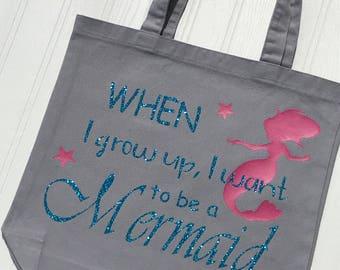 Be a Mermaid Custom Gift - Mermaid Gift For Girls - Birthday Gift Idea for Girls - Mermaid Party Gift - Back to School Bag for Girls