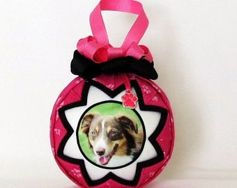 Personalized Pet Photo Ornament - Pink and Black