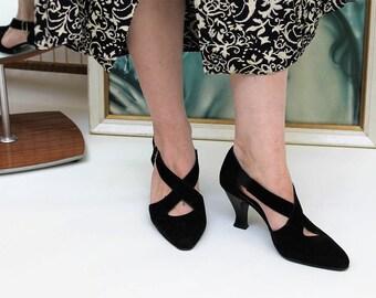 Black Suedette Cross Strap Mid-Heel Shoes Size UK 5, US 7.5, EU 38