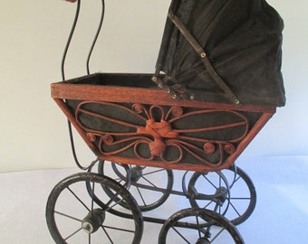 Doll Buggy, Vintage Decorative Wicker Victorian Pram, Perambulator Holiday Decor, Iron, Brown Black, Whimsical, Miniature Baby Carriage