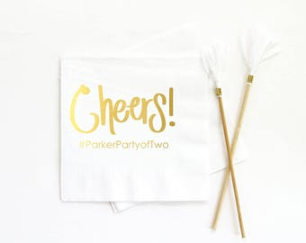 Cheers Cocktail Napkins Personalized Wedding Napkins Custom Printed Beverage Napkins Bridal Shower Napkins White and Gold Party Supplies