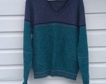 Vintage Jantzen 1980s V-Neck Sweater - Preppy Classic - Beautiful Colors - Teal and Purple Stripe Pattern - Medium