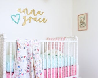 Baby Name Sign Above Crib - First and Middle Name Signs - Baby Nursery Name Sign Wall Decor Above Crib - Pastel Baby Nursery Wall Decor