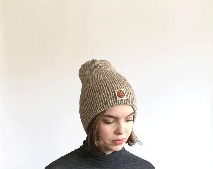 Tan Slouchy Wool Knit Beanie Winter Hat