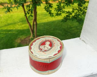 1930s Anitque Face Powder Du Barry Paris in Red Cameo Design Oval Box Brunette No. 1 RICHARD HUDNUT