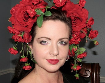 PINUP GEISHA Rich Red Fusion Oriental Headdress