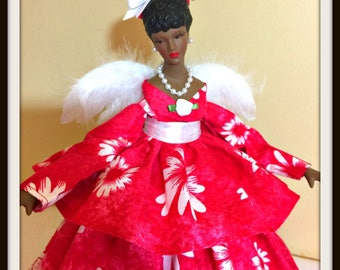 African American Angel Tree Topper, Red Daisies For Mother's Day, OOAK Handmade Black Angel Doll