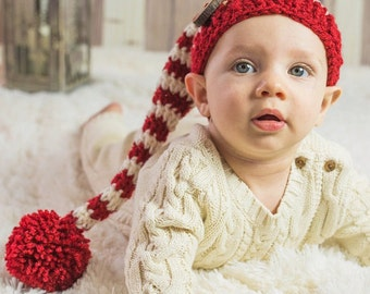 15% off Sale Sleepy Hat, Stocking Cap, Long Tail Hat, Elf Hat, Night Cap, Crochet Baby Hat, Long Tail Elf Hat, Baby Boy Hat, Knit Baby Hat