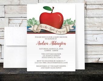 Apple Baby Shower Invitations Boy - Apple of My Eye - Red Green Blue Brown - Boy Baby Shower - Printed Invitations