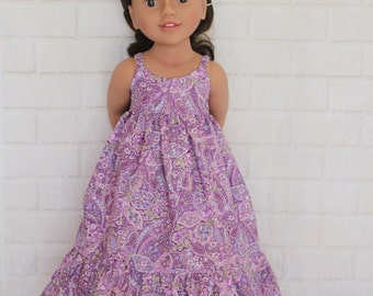 Purple Paisley Boho Chic Summer Maxi Dress Dolls Clothes to fit 20 inch dolls such as Australian Girl dolls