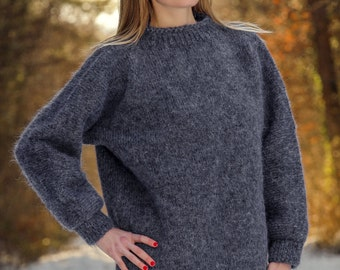 Thick and fuzzy hand knitted dark grey mohair sweater by SuperTanya