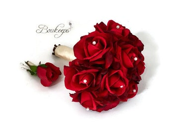 choose ribbon color red rose bouquet rose bridal bouquet real touch bouquet