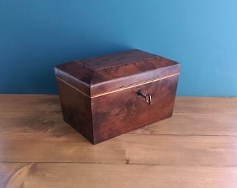 Georgian Burr Yew Wood Tea Caddy c1800