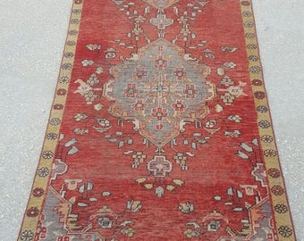 Vintage Oushak Runner / 4 by 12 / Boho / Copper-Ash / Muted / Low-Pile / Medallion Runner - 143 in x 43 in