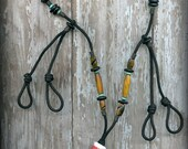 Upland Hunting/Field Lanyard with Flush Counter, Adjustable Call Drops, Bone and Horn Beads on Black 325 Paracord.