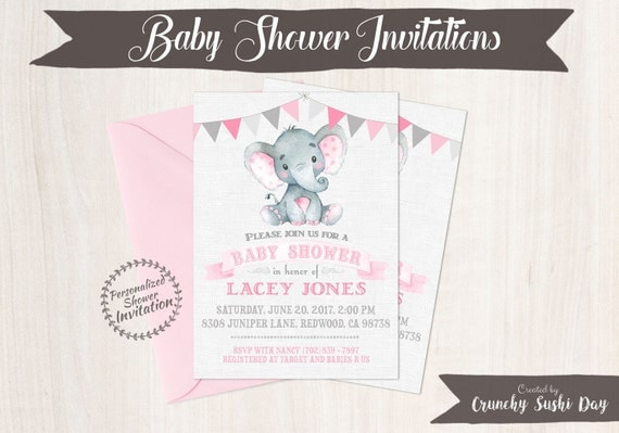 Pink Elephant, Girl Baby Shower Invitations, Printable Invitations, Baby Girl, Safari, Jungle, Elephant, Pink, Grey, Nursery, Cute 005