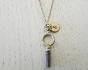 Clock key necklace two tone