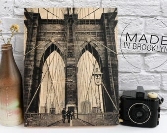 Valentines Day Gift for Her Brooklyn Bridge Print Gift for Him NYC Photo Gift for Dad Gift Mom Photo Transfer to Wood New York City Wall Art