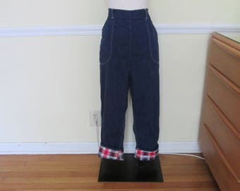 Vintage 1940s 40s Indigo Denim & Plaid Flannel Lined Jeans -High Waist-Side Zipper-Hot Rod/Motorcycle Girl-Bad Girl-JD-Rockabilly-Cowgirl
