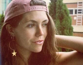 70s Jewelry - 70s Earrings, Star Earrings, Gold Star Hoop Earrings