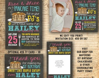 Pancakes and Pajamas Invitation - Pancake party invitation - Pajama party - 1st birthday party - We edit you print chalkboard PDF invitation
