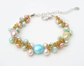 Blue Yellow Pink Freshwater pearl bracelet with glass beads on gold silk thread, peach, colorful bracelet, sweet, cute, summer bracelet