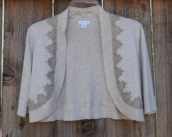 Upcycled bolero sweater with beaded lace trim