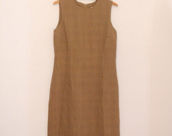 Sleeveless, Brown and Tan Plaid Shift Dress - Early 90s